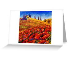 Tuscany Rolling Poppy Hills Greeting Card