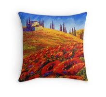 Tuscany Rolling Poppy Hills Throw Pillow