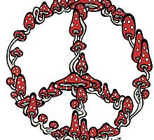Peace Symbol Made of Mushrooms (red version) by Brett Gilbert