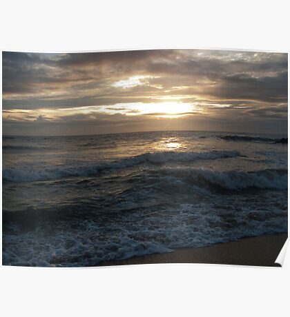 Sunset over Negombo beach, Sri Lanka Poster