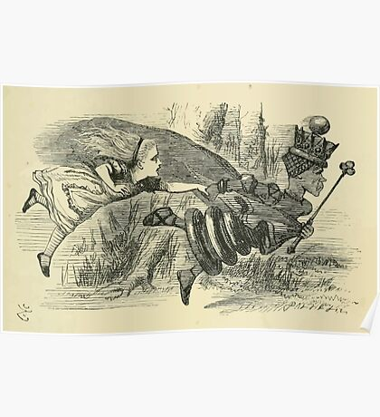 Through the Looking Glass Lewis Carroll art John Tenniel 1872 0061 Pulled Along Faster Poster