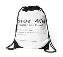 Error 404: Defect Not Found Drawstring Bag