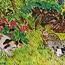 Cats In the Garden by Nira Dabush
