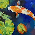Kohaku Koi and Dragonfly by Michael Creese