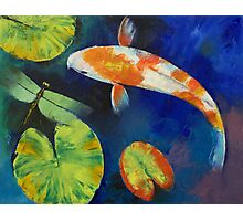 Kohaku Koi and Dragonfly Photographic Print