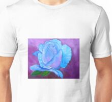 Blue Rose with Dew Drops Unisex T-Shirt