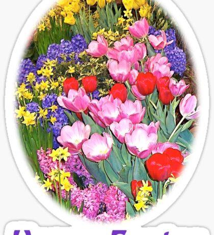 Happy Easter Spring Flowers Light T-Shirt Sticker