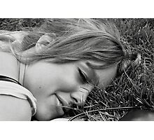 Inna Lays Down on the Grass Photographic Print