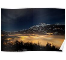 Aosta by foggy night Poster