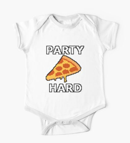 Party Hard Pizza Pixel Art One Piece - Short Sleeve