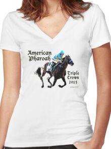 American Pharoah Triple Crown 2015 Women's Fitted V-Neck T-Shirt