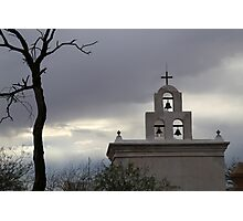 San Xavier Bell Tower at Dusk Photographic Print