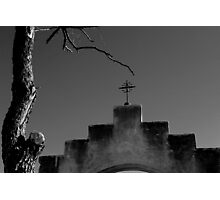 San Xavier Cross Arch and Tree BW Photographic Print