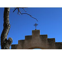 San Xavier Cross Arch and Tree Photographic Print