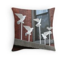 Peace Doves - powder coated steel sculpture Throw Pillow