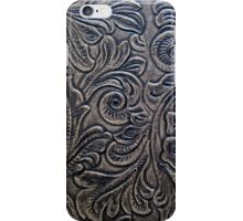 Brown Embossed Tooled Leather Flowers & Scrollwork Design iPhone Case/Skin