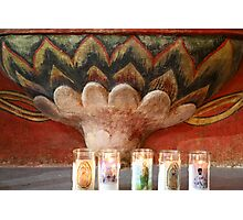 San Xavier Font and Candles Photographic Print