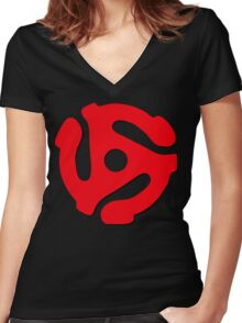 Music Geek, 45 rpm record adaptor, music geek stuff Women's Fitted V-Neck T-Shirt