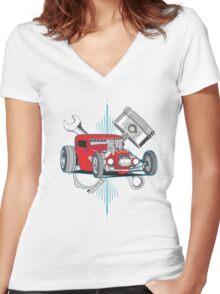 Hot Rod Garage Women's Fitted V-Neck T-Shirt
