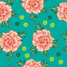- Peony turquoise pattern - by Losenko  Mila