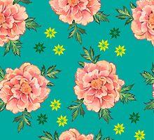 - Peony turquoise pattern - by Losenko  Mila