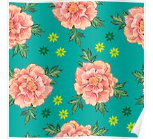 - Peony turquoise pattern - Poster