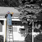 Fat guy on a ladder by Aaron  Schilling