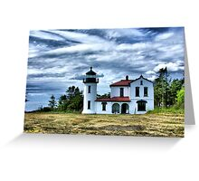 Lighthouse Under the Clouds Greeting Card