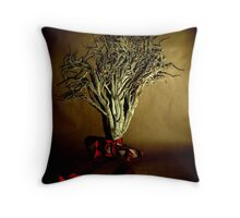 Desiccated Shrub with Ribbon on Brown Paper Throw Pillow