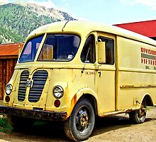 Old Yellow Vintage Delivery Van by Amy McDaniel