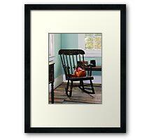 Basket on Yarn on Rocking Chair Framed Print