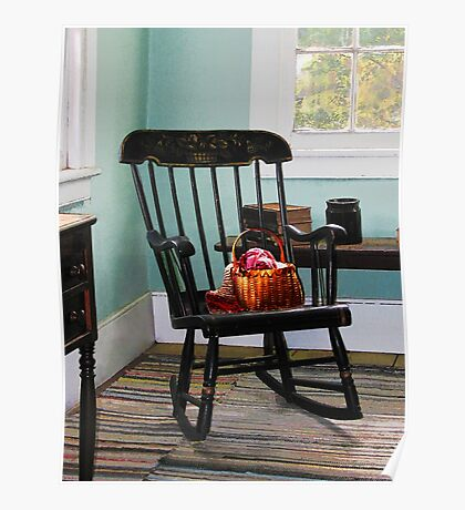 Basket on Yarn on Rocking Chair Poster