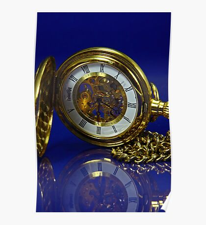 Reflections in Time - Gold and Blue Poster