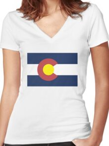 Colorado State Flag, USA Women's Fitted V-Neck T-Shirt
