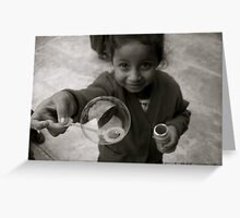 Mayan Child Having Fun With A Bubble Greeting Card