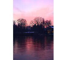 Pinky sunset over the river Po Photographic Print