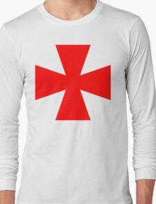 Red Medieval Crusader Cross, Symbol Long Sleeve T-Shirt