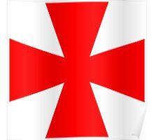 Red Medieval Crusader Cross, Symbol Poster