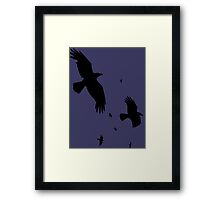 A Murder of Crows In Flight Vector Silhouette Framed Print