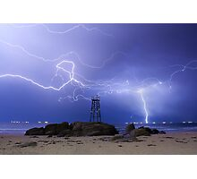Lightning At Redhead Photographic Print