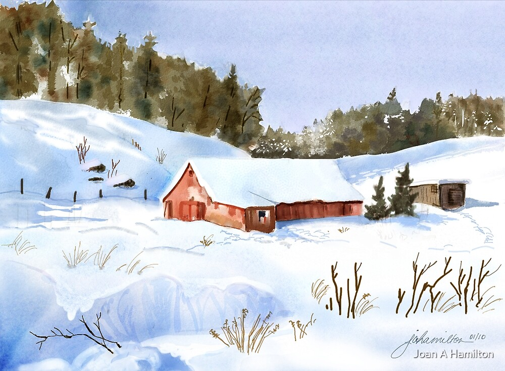 Ray's Red Barn Snowed In by Joan A Hamilton