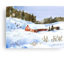 Ray's Red Barn Snowed In Canvas Print