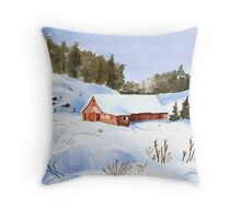 Ray's Red Barn Snowed In Throw Pillow