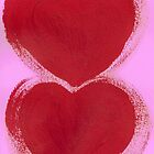 Double Hearts in Rouge Red on Pretty Pink by KazM