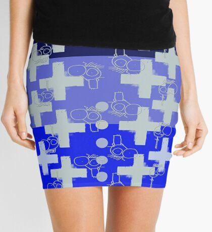 7 DAYS OF SUMMER- 70's KINDA PUNK- BLUE CROSS BOHO Mini Skirt
