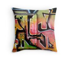 Yellow and pink graffitis Throw Pillow