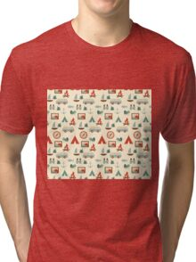 Simple abstract seamless tourist pattern Tri-blend T-Shirt