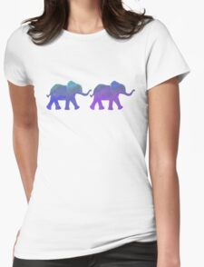 Follow The Leader - Painted Elephants in Purple, Royal Blue, & Mint Womens Fitted T-Shirt