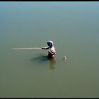 Fisher man, Mandalay Lake Thaungthaman Burma by Mathieu Grandjean