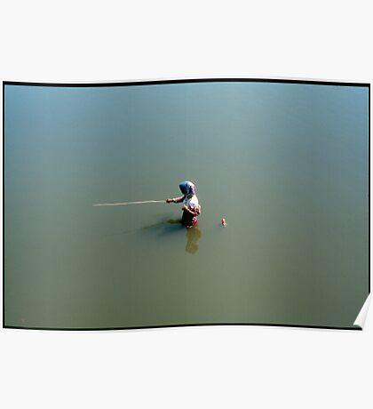 Fisher man, Mandalay Lake Thaungthaman Burma Poster